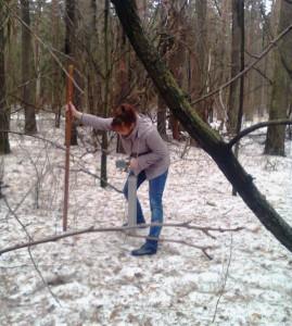 2015-04-10 В лесу снег есть! Процкая М.П. на снегосъемке.